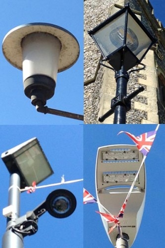 different styles of street lamp in Amersham
