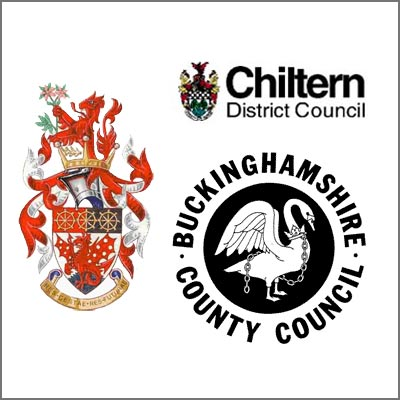 amersham town council, chiltern dc and bucks cc logos