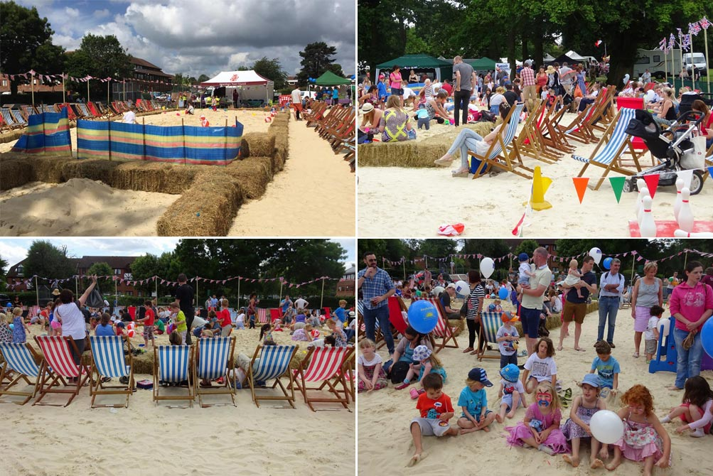 beach created on king george v playing fields amersham carnival 2015