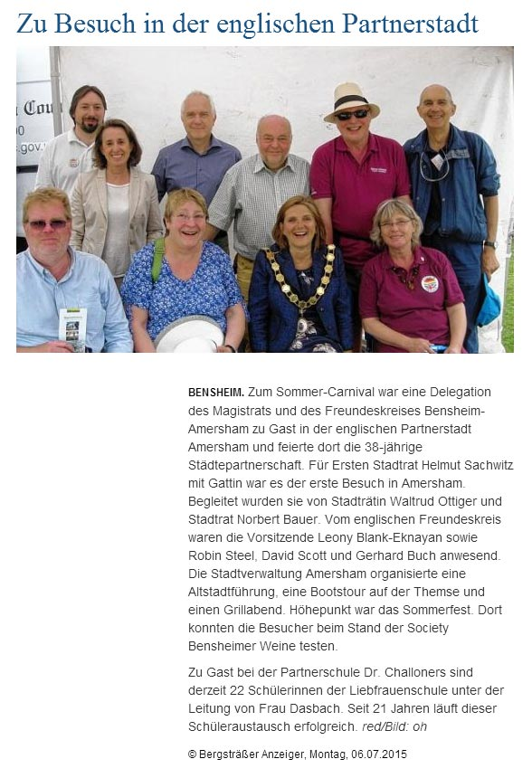 German news report Bensheim-Amersham twinning visit 2015