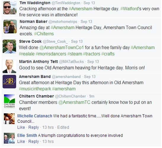 social media feedback for amersham heritage day 2015